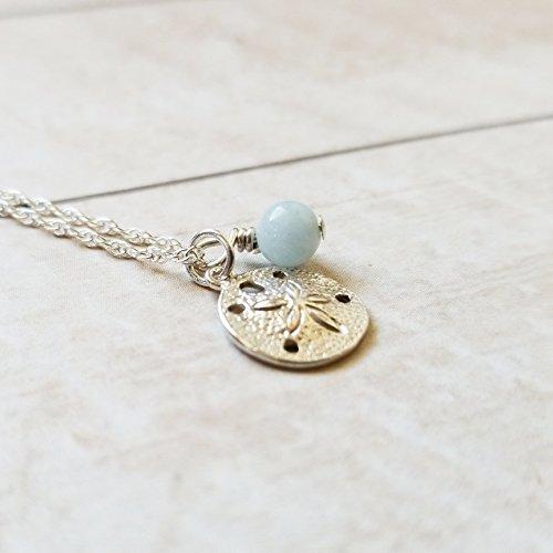 Sand Dollar Necklace Sterling Silver with Aquamarine Gemstone, Handmade by Gianna's Jewelry Box (Gift Aquamarine Genuine Box)