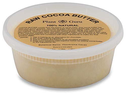 Raw Cocoa Butter 8 oz Pure 100% Unrefined FOOD GRADE Cacao Highest Quality Arriba Nacional Bean, Bulk Rich Chocolate Aroma For Lip Balms, Stretch Marks, DIY Base for Body Butters & Soap Making
