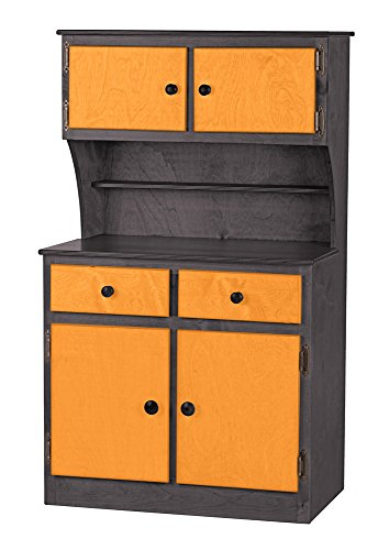 Children's Kitchen Play Hutch -Metro Collection - Black and Orange Color Amish Bedroom Hutch