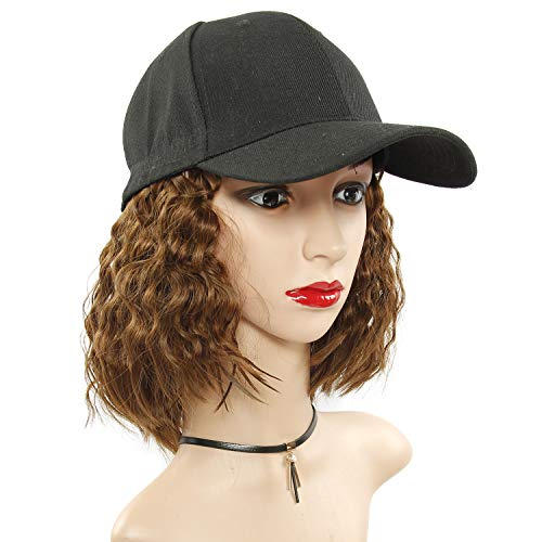 Baseball Cap Wig with Curly Hair Extensions Short Synthetic Wave Wig Hat for Women Adjustable Black Baseball Hat (Light Brown) (Black Hair Products For White Curly Hair)