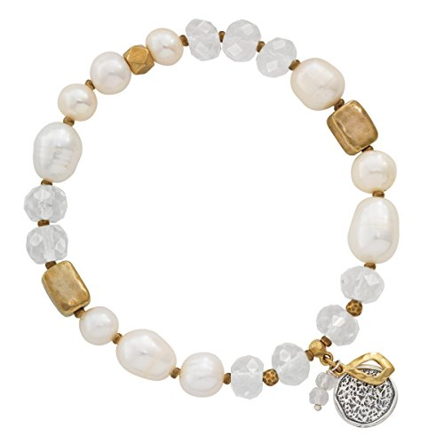 (Silpada 'Down To Earth' 7.5 mm Freshwater Cultured Pearl & Rock Crystal Stretch Bracelet in Sterling Silver and Brass,)