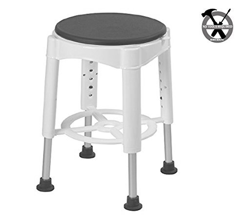 Shower & Bath Stool with Padded Rotating Seat, White with Gray Swivel Seat | Lightweight & Portable | Adjustable Height | Easy No-Tool Assembly | Independent Showering for Elderly, Seniors or Injured for $<!---->