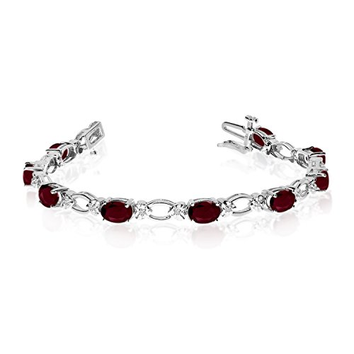 "5.64 Carat (ctw) 14k White Gold Oval Garnet and Diamond Open Link Tennis Bracelet - 7"" Length"