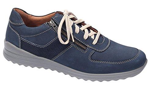 Jomos Herren 319404 Nubukleder Schnürschuh Weite K mit Reißverschluss Blau