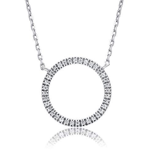 0.07 Carat Natural Diamond Pendant Necklace 10K White Gold (HI Color, I3 Clarity) Circular Diamond Pendant Necklace for Women Diamond Jewelry Gifts for Women