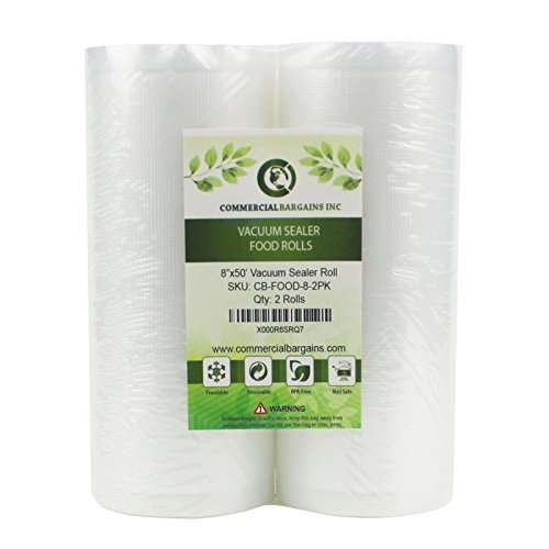 2 Large 8'' x 50' Vacuum Saver Rolls Commercial Grade Food Sealer Bags by Commercial Bargains by Commercial Bargains (Image #1)