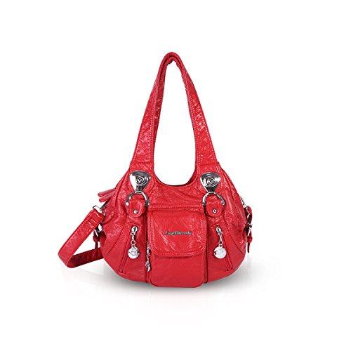 NICOLE & DORIS Bolso de hombro para mujer Bolso de bolso para damas Crossbody Albaricoque Rojo