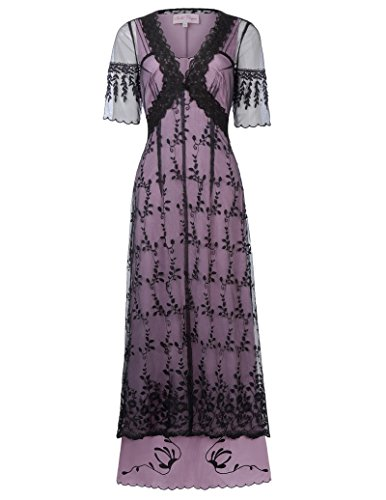 Belle Poque Women Victorian Edwardian Downton Abbey Titanic Party Dress Renaissance Costume BP247-1 S Black]()