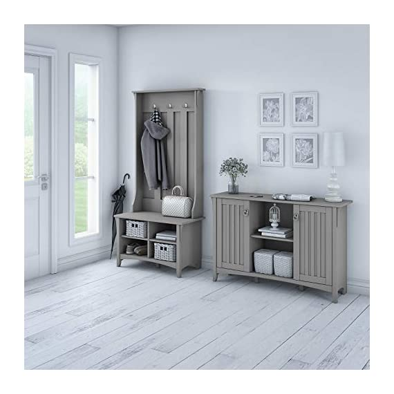 UNIVERSAL LTD Hall Tree with Storage Bench Shoe and Coat Rack in Cape Cod Gray Entryway Storage Organizer Easy Assembly (Cape Cod Gray) - ✅ FIRST IMPRESSIONS MATTER: Bring your guests to your home with a cheerful Welcome! Take off their coat and hang it on your new coat rack in the hallway; the exciting mix of classic and ancient design styles will certainly appeals your visitors. ✅ EVERYTHING UNDER ONE ROOF: This coat rack integrates a clothes rack, shoe rack and storage rack all in one unit; coat, boots, bag and keys are always at hand with easy access. Finished in Antique White with a slightly distressed touch, the country feel of the Hall Tree with Storage Bench looks great even beyond your entryway. A pair of adjustable shelves hold various items in any space, including a bedroom, dorm or hallway. ✅ BUILT TO LAST: The combination of a sturdy frame, sustainable and durable engineered wood constructions ensures a high stability of the coat rack even when loaded with heavy winter jackets; anti-tip kit for extra support. Tapered legs, a curved base and decorative wood detailing complement the casual homes of today. - hall-trees, entryway-furniture-decor, entryway-laundry-room - 41C6mExBULL. SS570  -