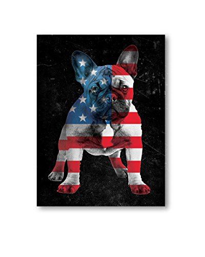 Pekatees Modern USA Canvas with Bulldog Wall Art American Flag Canvas Dog Wall Art Bulldog Room Decor Cute French Bulldog Art for Home Office Kids Room Decor 24
