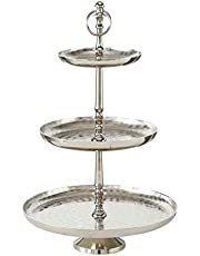WHW Whole House Worlds Old World Grand Hotel 3 Tier Stand Decorative, Polished Silver Aluminum, Etched and Polished Artisan Finish, Luxurious Style, Pedestal Base, 12 .25 D x 19 H inches