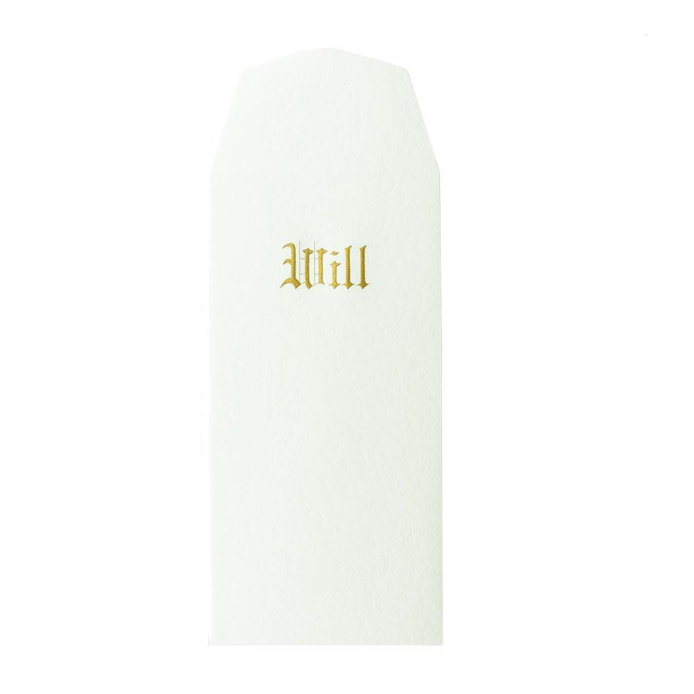 Blumberg Pebble Finish, Bright White, Engraved in Gold, Will Envelopes, 100 per Box