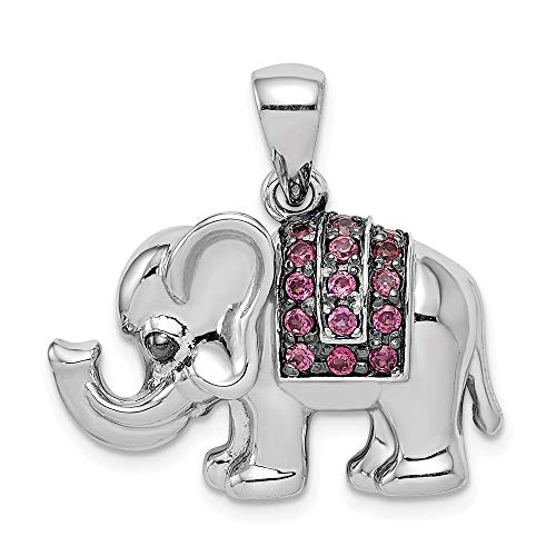 925 Sterling Silver Rhodolite Red Garnet Elephant Pendant Charm Necklace Gemstone Animal Fine Jewelry Gifts For Women For Her