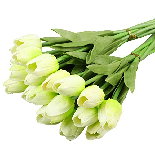 Vlovelife 20 Heads Artificial Flowers Real Touch Tulips in Light Green Wedding Bouquets Flowers Fake Tulips PU Tulips Flowers Arrangement Bouquet Home Room Centerpiece Party Wedding Decor - 20 Bouquet Tulip Light