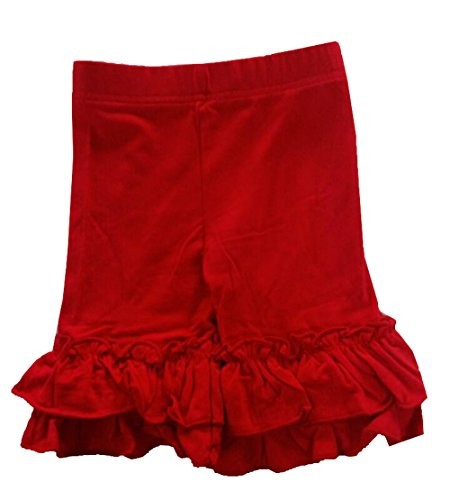 Baby Little Girls Short Toddler Ruffle Solid Cotton Pants (Shorts Red Ruffle)