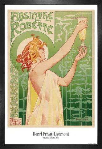 Historical Advertisement Poster and Frame (MDF) - Green Fairy, Absinthe Robette, Henri Privat Livemont, 1896 (36 x 24 inches)