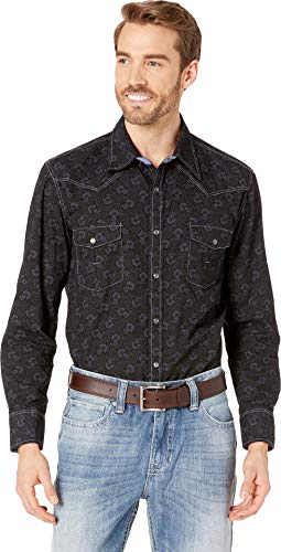 Rock & Roll Cowboy Men's and Poplin Floral Print Long Sleeve Western Shirt Charcoal Large