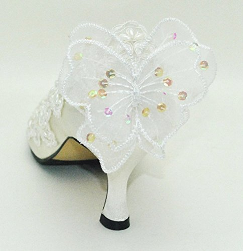 Womens Bowknot MZ588 Heel 6 Satin Round 5cm Ivory Pumps Toe Kitten Minishion Heel Bridal ZYwdqY