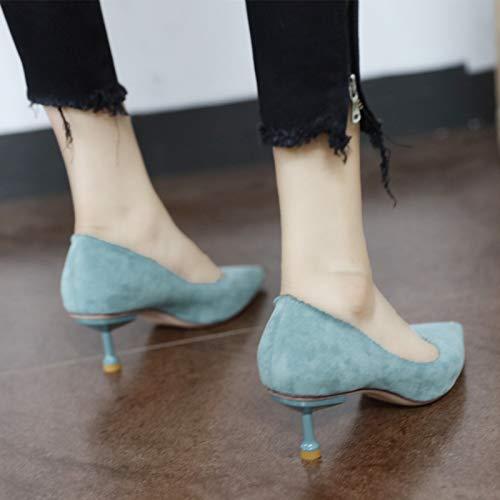 la Cabeza Alto tacón de señaló del Moda del del Temperamento los Metal Zapatos del del YMFIE Europea A Atractivos Ante Trabajo La w5gvnqXvTU