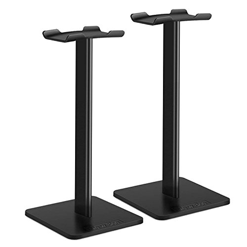 Headphone Stand New Bee Headset Stand Earphone Stand with Aluminum Supporting Bar Flexible Headrest ABS Solid Base for All Headphones Size (2-Pack) by New bee