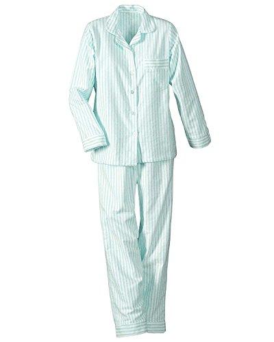 (National Long Sleeve Woven Striped Pajamas, Aqua, Petite Large - Petites Long Sleeve)
