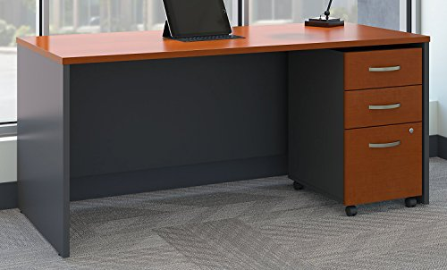 - Bush Business Furniture Series C 66W x 30D Office Desk with Mobile File Cabinet in Auburn Maple