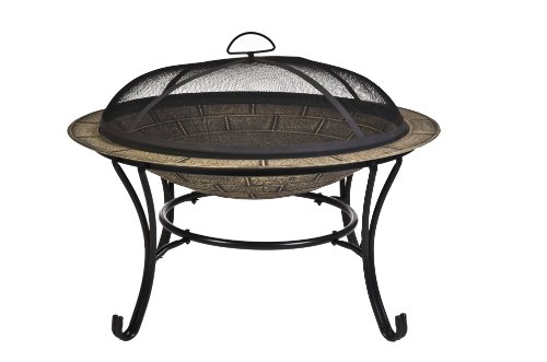CobraCo FB6102 Round Cast Iron Brick Finish Fire Pit with Screen and - Brick Finish Iron Cast