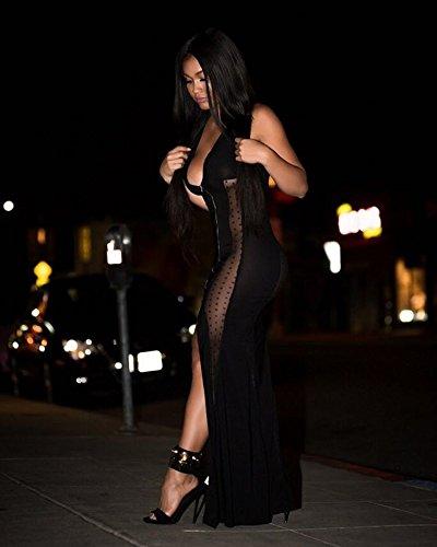 Splicing Deep Dress Women's Maxi Sleeveless Mesh YOLI V Black Sexy qp7nP