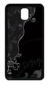 Pattern Background Tpu Silicone Rubber Case Back Cover for Samsung Galaxy Note 3 / Note III/ N9000 - Black