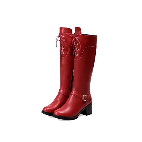Botas Redonda Sólido Alta Agoolar Medio Tacón Mujeres Rojo Puntera Caña H8xEww6BFq