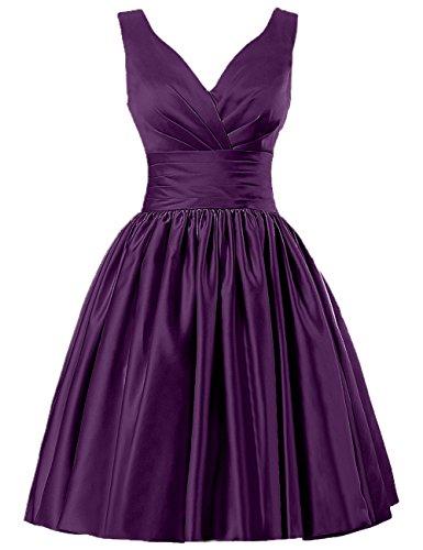 JAEDEN Mujer V-Cuello Vestido de la Dama de Honor Corto Satén Vestido de Cóctel Vestido de Fiesta Uva