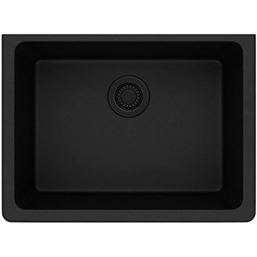 - Elkay Quartz Classic ELGU2522BK0 Single Bowl Undermount Sink, Black