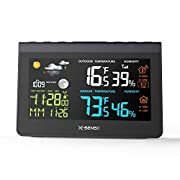 #LightningDeal X-Sense Wireless Weather Station with Large Backlit Color LCD, 500 ft Wireless Range, Atomic Clock, Accurate Temperature, Humidity, Weather Forecast and Temperature/Time Alert