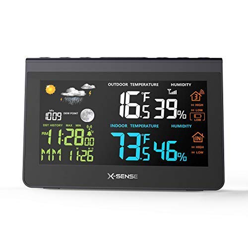 Wireless Weather Station X-Sense Forecast Station with 500 ft Wireless Range, Large Backlit Color LCD, Atomic Clock, Accurate Temperature, Humidity, and Temperature/Time Alert