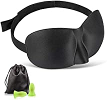 Sleep Eye Mask for Men Women, 3D Contoured Cup Sleeping Mask & Blindfold with Ear Plug Travel Pouch, Concave Molded...
