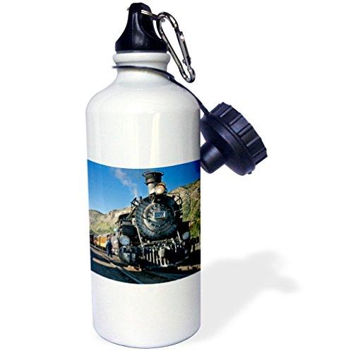 (3dRose wb_88941_1 Durango and Silverton Narrow Guage Railroad, Trains-Us06 Lkl0010-Lee Klopfer Sports Water Bottle, 21 oz, White)