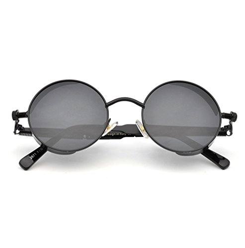 ZUVGEES Polarized Steampunk Round Sunglasses for Men Women Mirrored Lens Metal Frame S2671 5