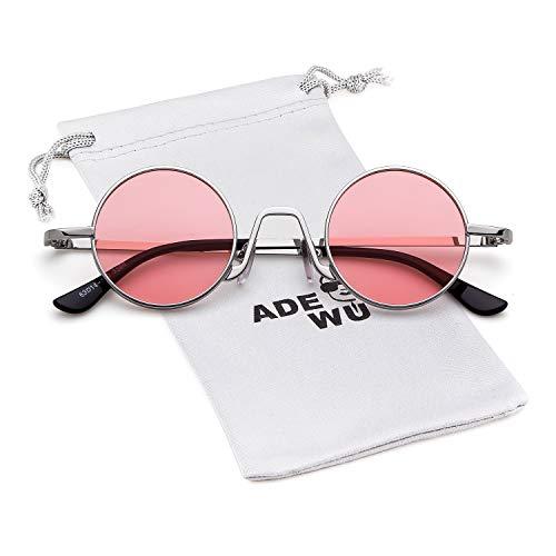 metal fino Mujeres Marco de 1 Hombres borde Style Lente Vintage de Gafas Rosa ovaladas Plata Eyewear Street Redondo con ADEWU sol 7wPqH7