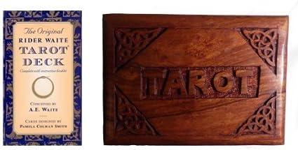 The Rider Waite Caja Tarot Madera Esculpida a Mano & Baraja de Cartas: Amazon.es: Hogar