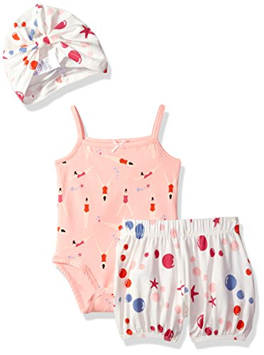 Rosie Pope Baby Girls' 2 Piece Set with Headband and Matching Diaper Cover, Coral/Swimmers, 3-6 Months (Headband Piece 2)