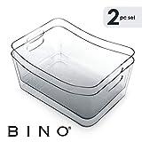 BINO - cubeta de Almacenamiento con Asas para Nevera, congelador y clóset de despensa, plástico Transparente y Ancho para el hogar y la Cocina, 2 Unidades