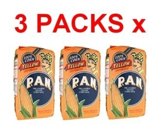 Harina PAN 3 PACK Yellow Corn Meal Flour 3 x 1 Kg (Harina Pan)