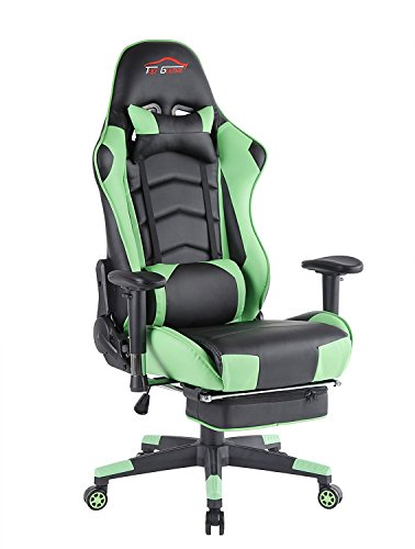 41C6pTvj2PL - Top-Gamer-Ergonomic-Gaming-Chair-High-back-Swivel-Computer-Office-Chair-with-Footrest-Adjusting-Headrest-and-Lumbar-Support-Racing-Chair-Green
