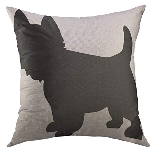 - Mugod Decorative Throw Pillow Cover Westie West Highland Terrier Silhouette Dog White Home Decor Pillow Case 18x18 inch