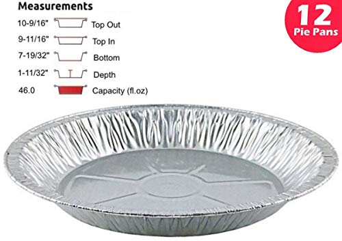 Pactogo 11'' Aluminum Foil Pie Pan Extra-Deep Disposable Tin Plates (Pack of 12) by PACTOGO