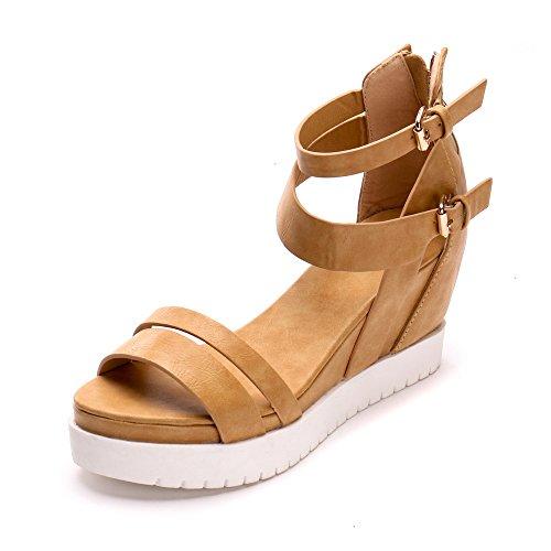Alexis Leroy Summer Womens' Classic Buckle Design Fashion Wedge Sandals Camel 37 M EU / 6-6.5 B(M) US