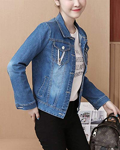 Jeans Slim Casual Metallo Donna Manica Giacca Primaverile Aspicture Giaccone Giacche Bavero Lunga Digitale Stampate Blu Fibbia Con Moda In Jacket Fit Glamorous Semplice Tasche zq4xrz