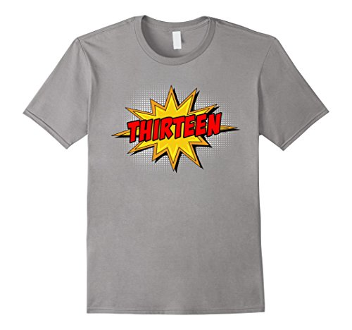 Comic Retro Old Shirt (Mens Kids 13th Birthday Comic Superhero T-Shirt for 13 Year Olds Medium Slate)