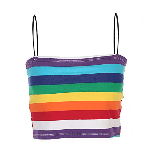 Rainbow Tube Top (malianna Women Rainbow Block Striped Spaghetti Strap Crop Tops Colorful Tank Tops)