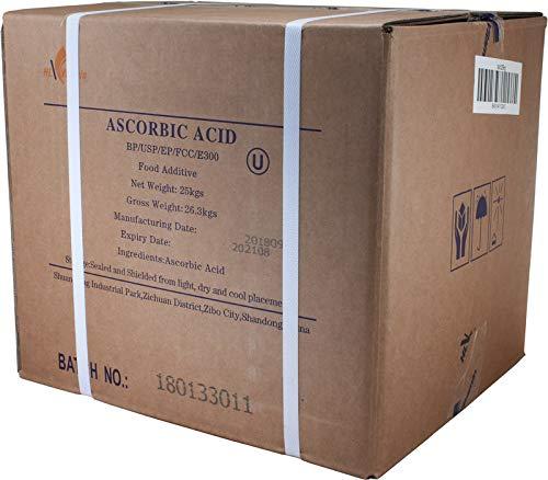 55 lb Bag of L-Ascorbic Acid Powder 99+% Food Grade USP36/BP2012 Naturally Fermented Pure White Crystals Form of Vitamin C
